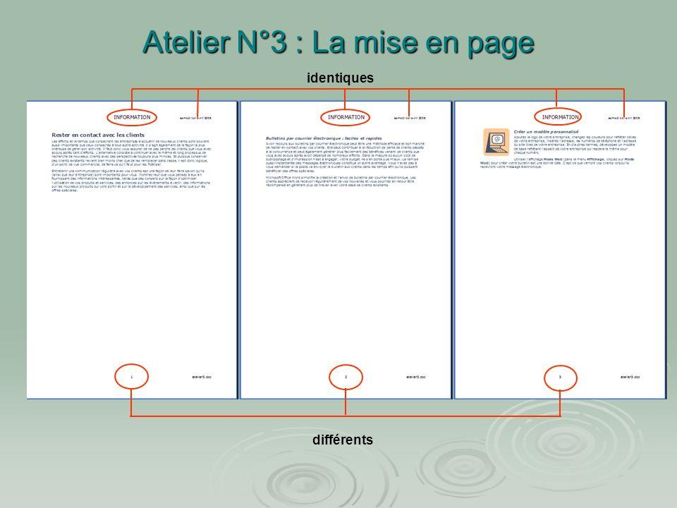 Atelier N°3 : La mise en page Nom du fichier Numéro de la page Date du jour titre