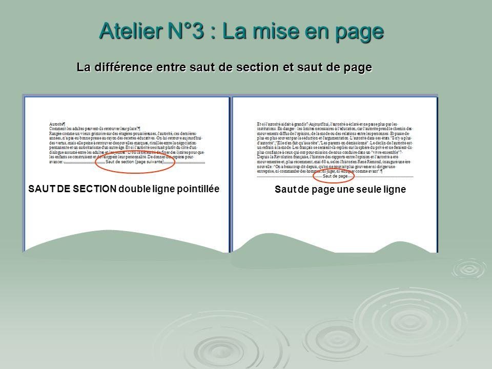 Atelier N°3 : La mise en page Exercice : dans « atelier 3 » afficher les caractères non imprimables Exercice : dans « atelier 3 » afficher les caractè