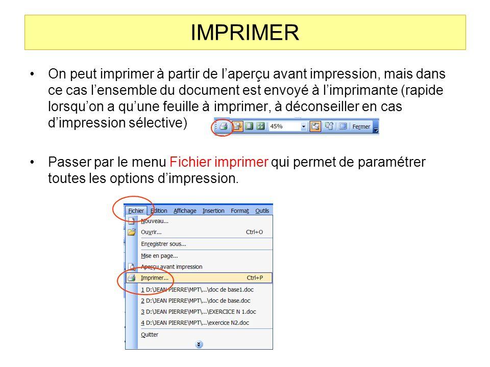 Aperçu avant impression Laperçu avant impression permet de voir à quoi va ressembler le document imprimé. Il permet de visualiser plusieurs pages à la
