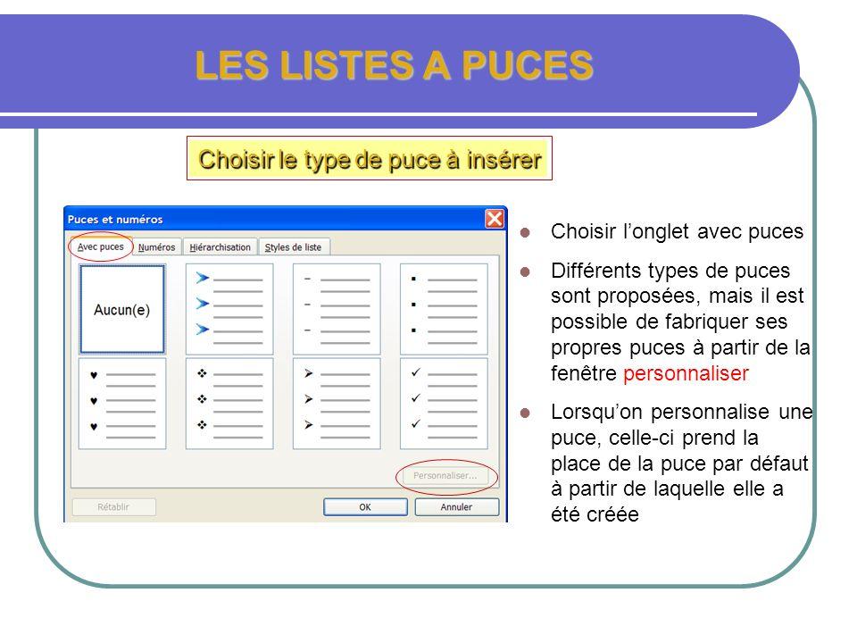 LES LISTES A PUCES Choisir le type de puce à insérer MENU FORMAT PUCES ET NUMÉROS Cliquer sur le menu format Cliquer sur puces et Numéros Un nouveau m