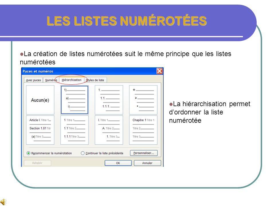 LES LISTES A PUCES LES LISTES A PUCES AUTOMATIQUES Dans longlet lors de la frappe, cocher listes à puces automatiques et/ou listes numérotées automati
