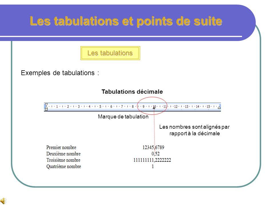 Les tabulations et points de suite Les tabulations Exemples de tabulations : Tabulations gauche avec points de suite Valeur de la tabulation par rappo