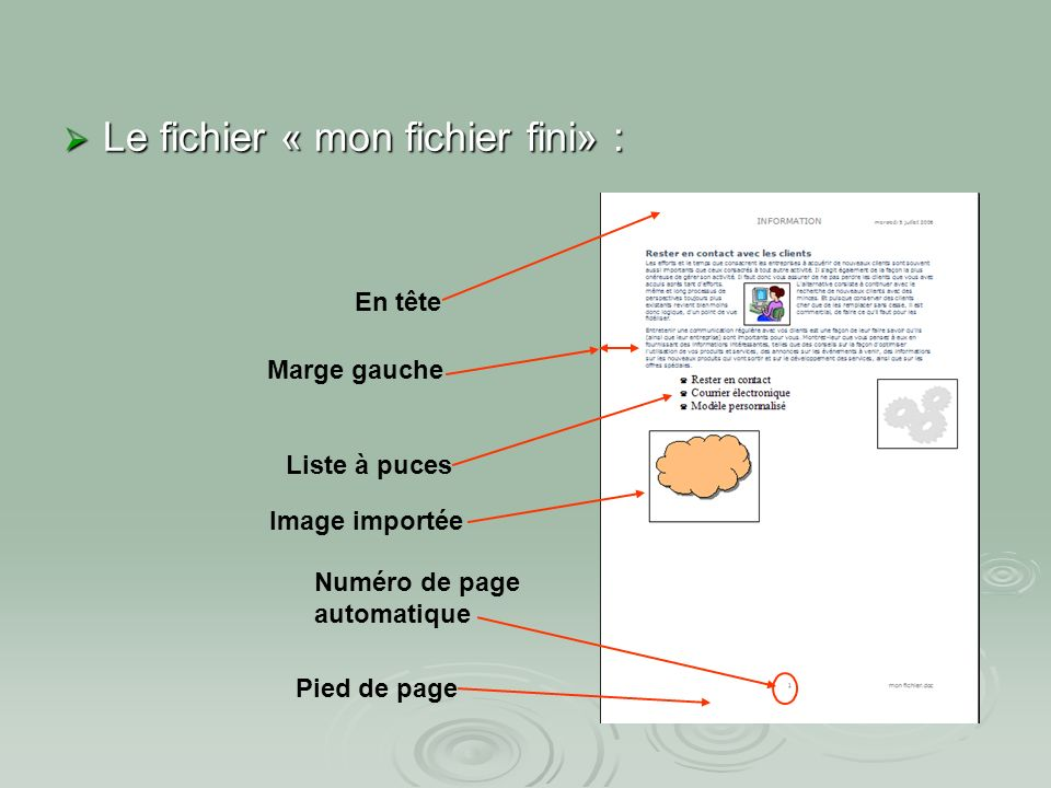 Atelier N°3 : La mise en page Zone de pied de page Cliquer glisser pour changer les dimensions du pied de page Exercice : placer le numéro de page et le nom du fichier en pied de page : Placer le curseur sous la tabulation centrée (touche TAB) Cliquer sur le bouton insérer un numéro de page Le numéro de la page est affiché au centre du pied de page Le numéro de la page est affiché au centre du pied de page