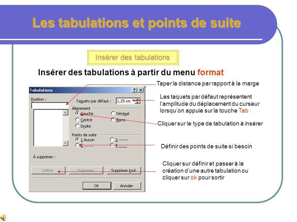 Les tabulations et points de suite Insérer des tabulations Pour déplacer la tabulation dans la règle, il suffit de cliquer glisser le taquet jusquà le