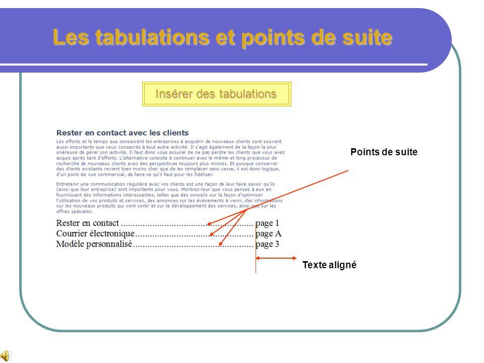 Les tabulations et points de suite Insérer des tabulations et points de suite Dans le document atelier 3, page 3 effacer les puces des 3 dernières lig