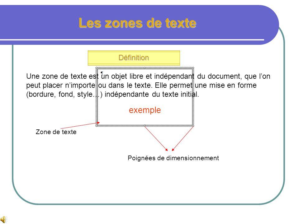 Les tabulations et points de suite Insérer des tabulations Points de suite Texte aligné