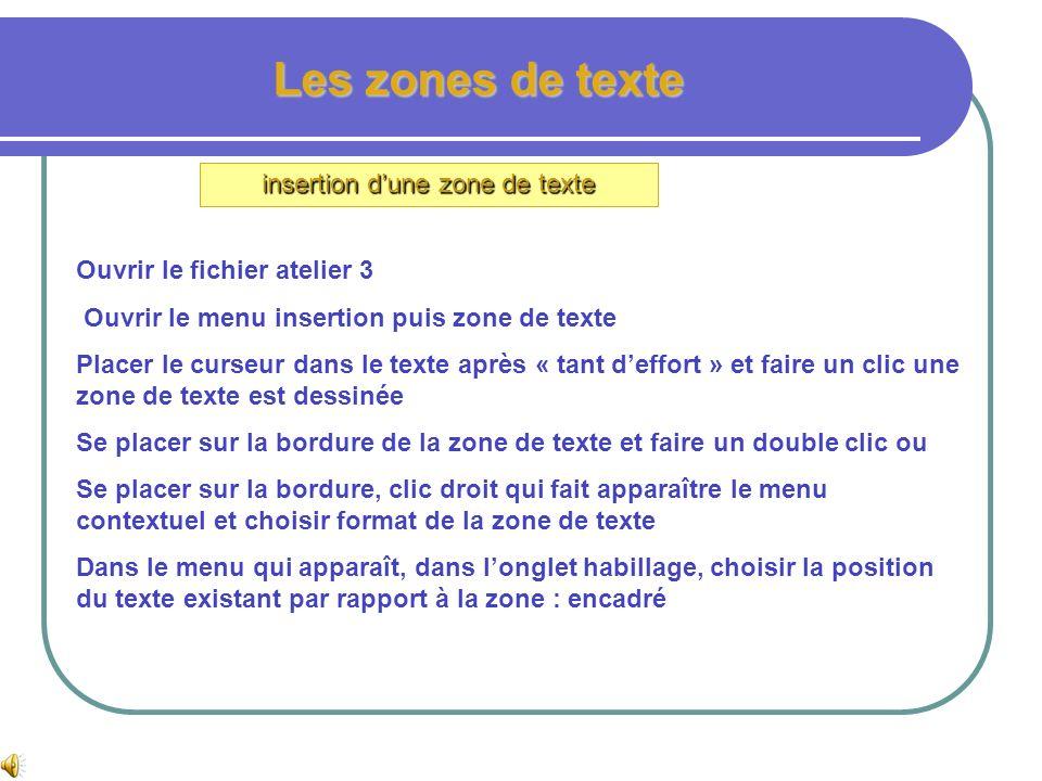 Les zones de texte Insertion dune zone de texte Dans le menu insertion cliquer sur zone de texte, le curseur se transforme en croix, cliquer maintenu