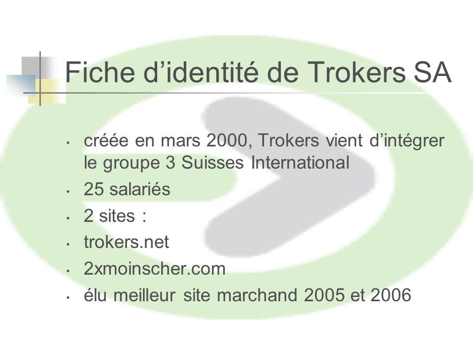 Fiche didentité de Trokers SA créée en mars 2000, Trokers vient dintégrer le groupe 3 Suisses International 25 salariés 2 sites : trokers.net 2xmoinscher.com élu meilleur site marchand 2005 et 2006