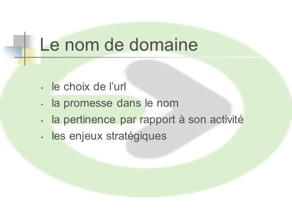 Le nom de domaine le choix de lurl la promesse dans le nom la pertinence par rapport à son activité les enjeux stratégiques
