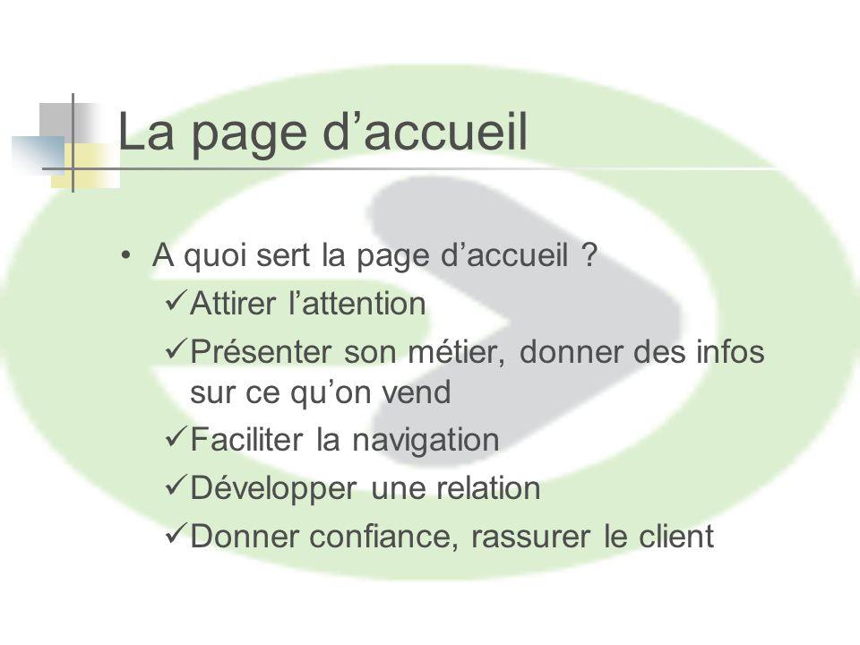 La page daccueil A quoi sert la page daccueil .