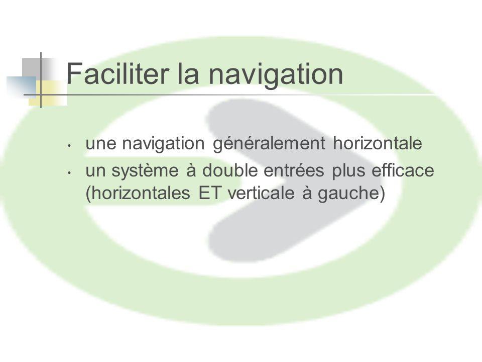Faciliter la navigation une navigation généralement horizontale un système à double entrées plus efficace (horizontales ET verticale à gauche)