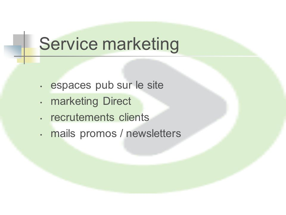 Service marketing espaces pub sur le site marketing Direct recrutements clients mails promos / newsletters