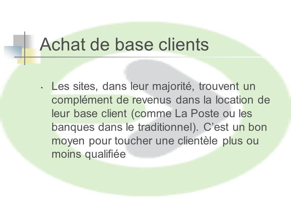 Achat de base clients Les sites, dans leur majorité, trouvent un complément de revenus dans la location de leur base client (comme La Poste ou les banques dans le traditionnel).