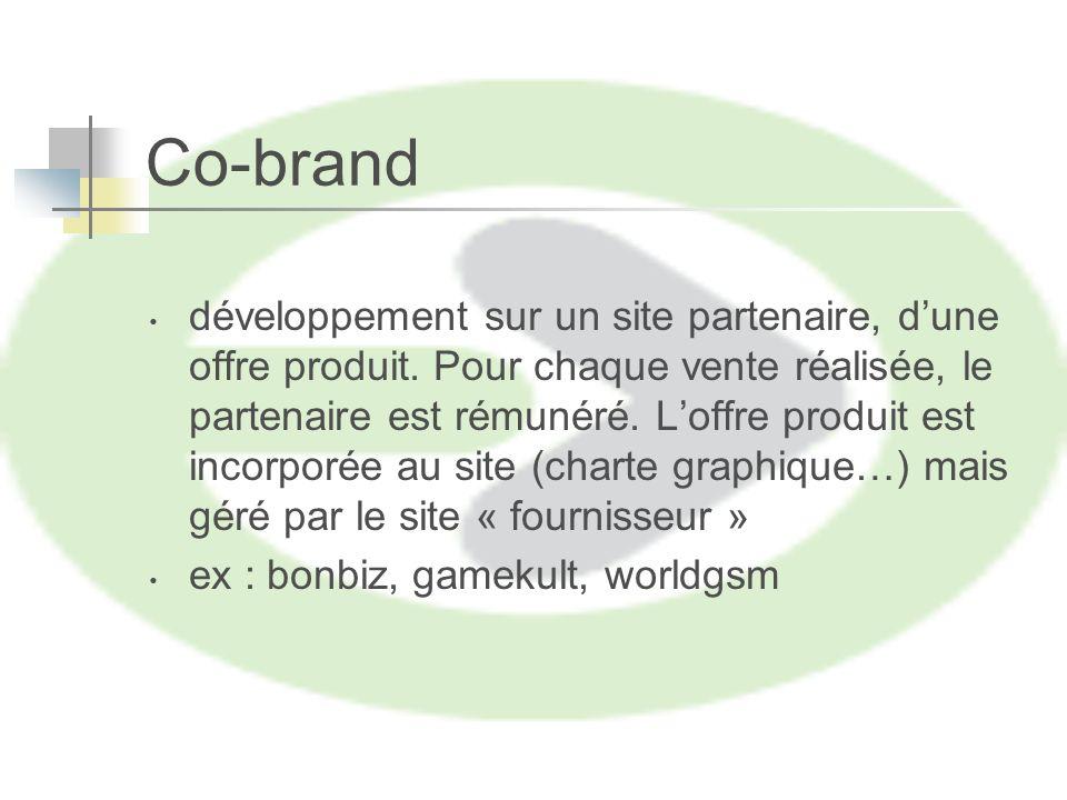 Co-brand développement sur un site partenaire, dune offre produit.