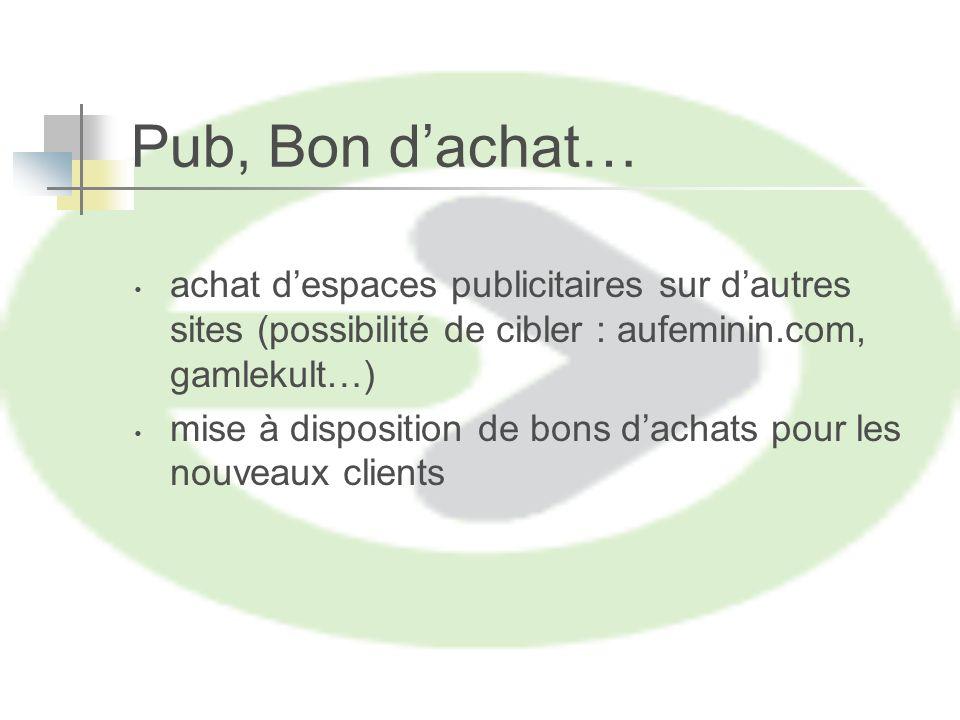 Pub, Bon dachat… achat despaces publicitaires sur dautres sites (possibilité de cibler : aufeminin.com, gamlekult…) mise à disposition de bons dachats pour les nouveaux clients