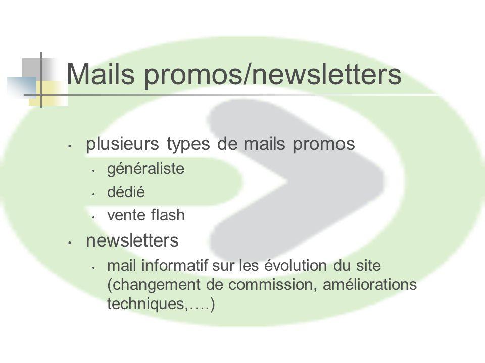 Mails promos/newsletters plusieurs types de mails promos généraliste dédié vente flash newsletters mail informatif sur les évolution du site (changement de commission, améliorations techniques,….)