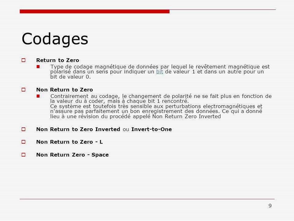 9 Codages Return to Zero Type de codage magnétique de données par lequel le revêtement magnétique est polarisé dans un sens pour indiquer un bit de va