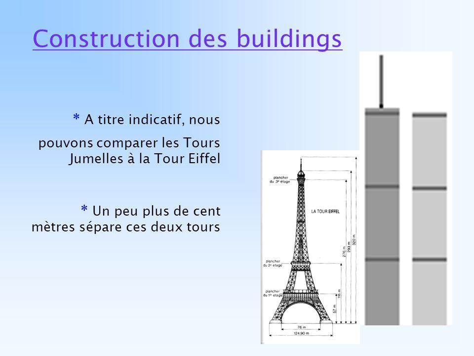 Construction des buildings * A titre indicatif, nous pouvons comparer les Tours Jumelles à la Tour Eiffel * Un peu plus de cent mètres sépare ces deux