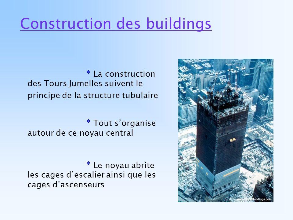 Construction des buildings * La construction des Tours Jumelles suivent le principe de la structure tubulaire * Tout sorganise autour de ce noyau cent