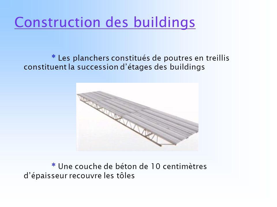 Construction des buildings * Les planchers constitués de poutres en treillis constituent la succession détages des buildings * Une couche de béton de