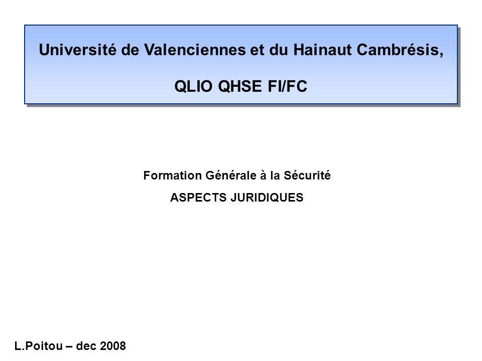 Université de Valenciennes et du Hainaut Cambrésis, QLIO QHSE FI/FC Formation Générale à la Sécurité ASPECTS JURIDIQUES L.Poitou – dec 2008