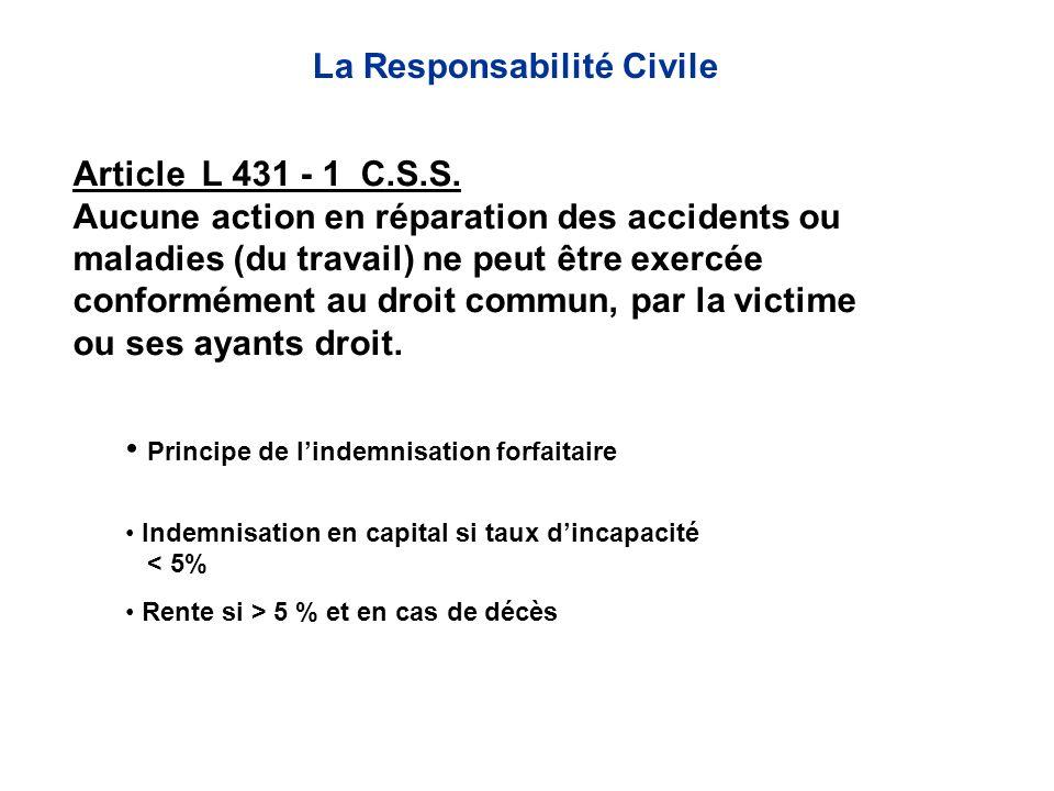 Article L 431 - 1 C.S.S. Aucune action en réparation des accidents ou maladies (du travail) ne peut être exercée conformément au droit commun, par la