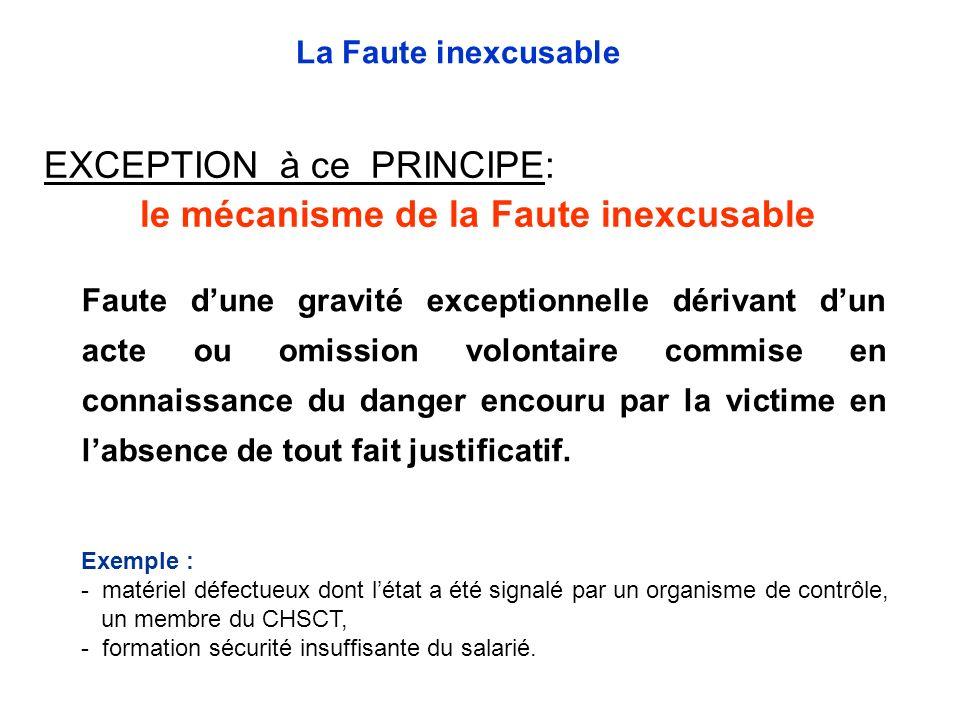 EXCEPTION à ce PRINCIPE: le mécanisme de la Faute inexcusable Faute dune gravité exceptionnelle dérivant dun acte ou omission volontaire commise en co