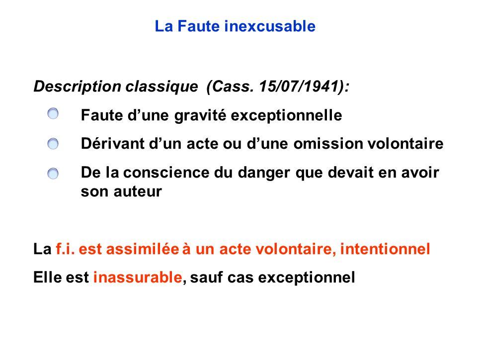 Description classique (Cass. 15/07/1941): Faute dune gravité exceptionnelle Dérivant dun acte ou dune omission volontaire De la conscience du danger q