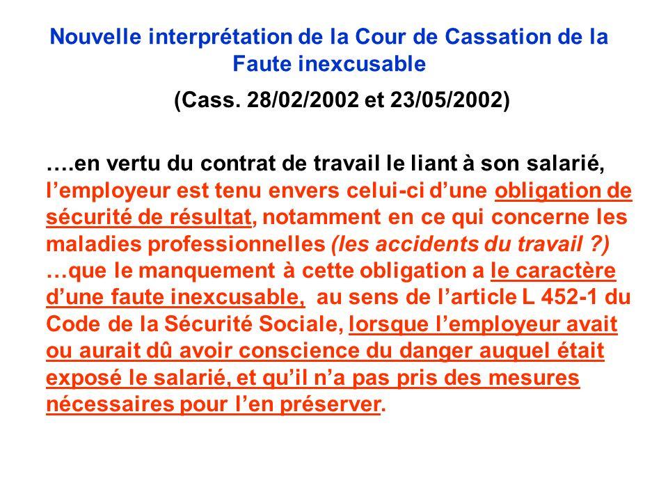 (Cass. 28/02/2002 et 23/05/2002) ….en vertu du contrat de travail le liant à son salarié, lemployeur est tenu envers celui-ci dune obligation de sécur