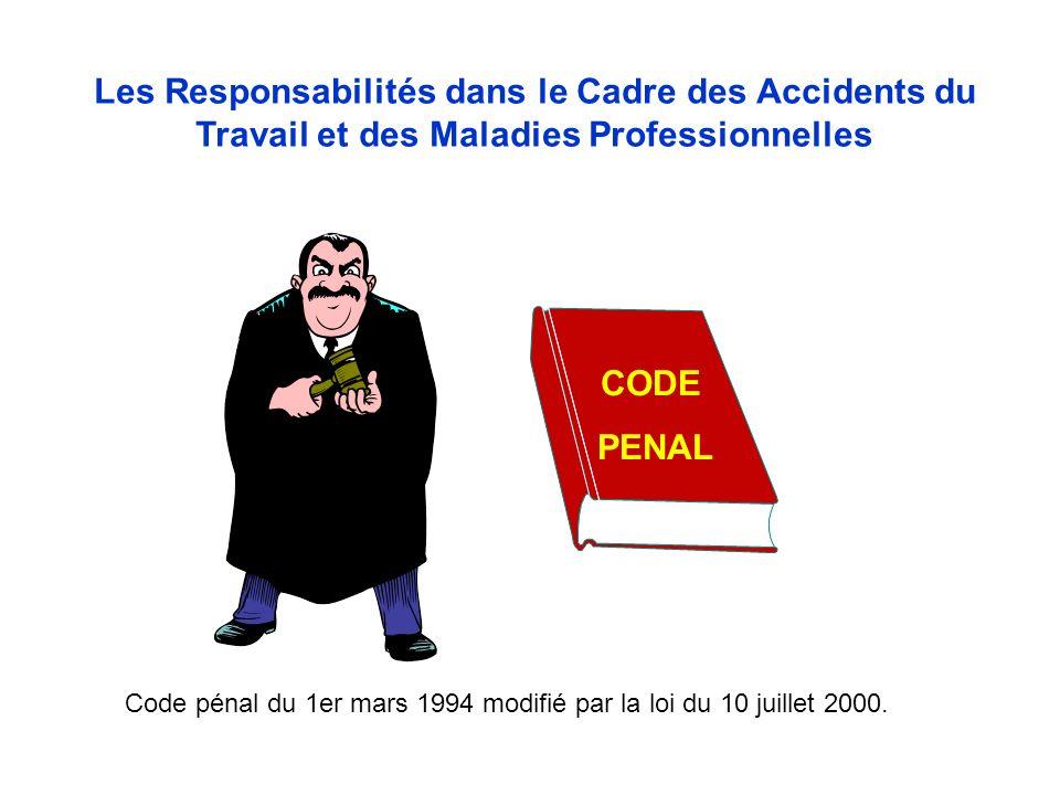 Les Responsabilités dans le Cadre des Accidents du Travail et des Maladies Professionnelles CODE PENAL Code pénal du 1er mars 1994 modifié par la loi