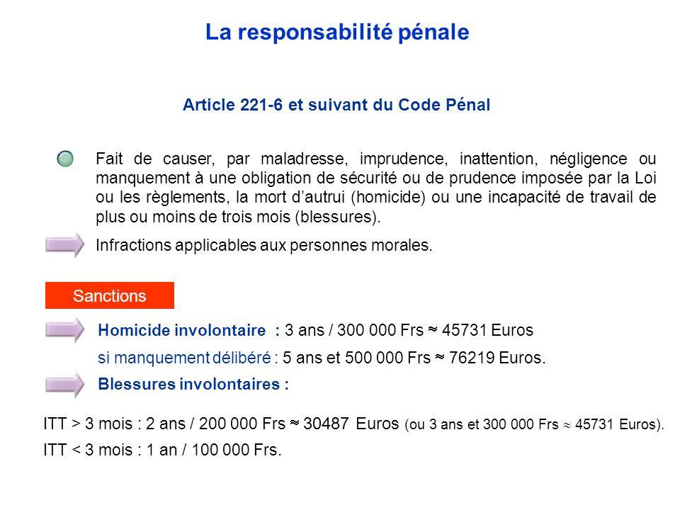 Article 221-6 et suivant du Code Pénal Fait de causer, par maladresse, imprudence, inattention, négligence ou manquement à une obligation de sécurité