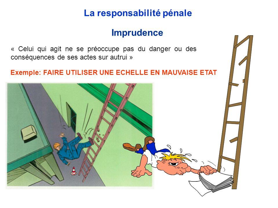 « Celui qui agit ne se préoccupe pas du danger ou des conséquences de ses actes sur autrui » Imprudence La responsabilité pénale Exemple: FAIRE UTILIS