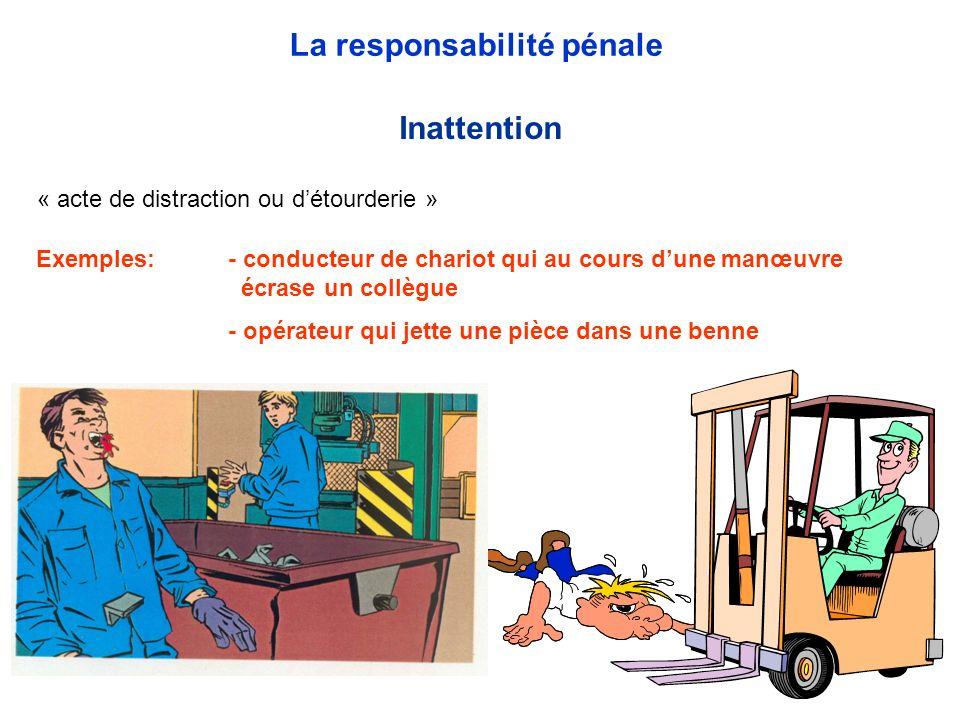 « acte de distraction ou détourderie » Inattention La responsabilité pénale Exemples: - conducteur de chariot qui au cours dune manœuvre écrase un col