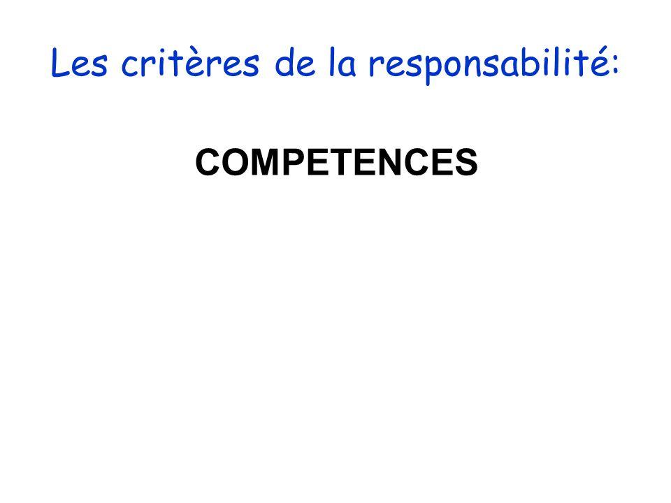 Les critères de la responsabilité: COMPETENCES
