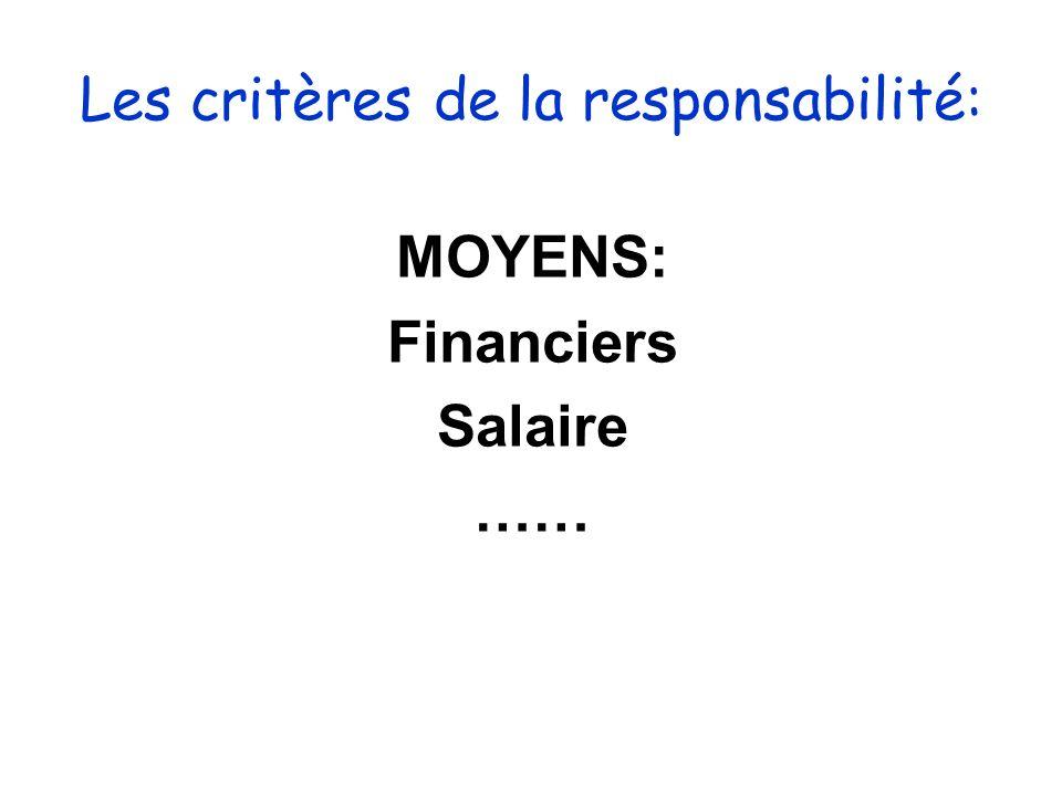 Les critères de la responsabilité: MOYENS: Financiers Salaire ……