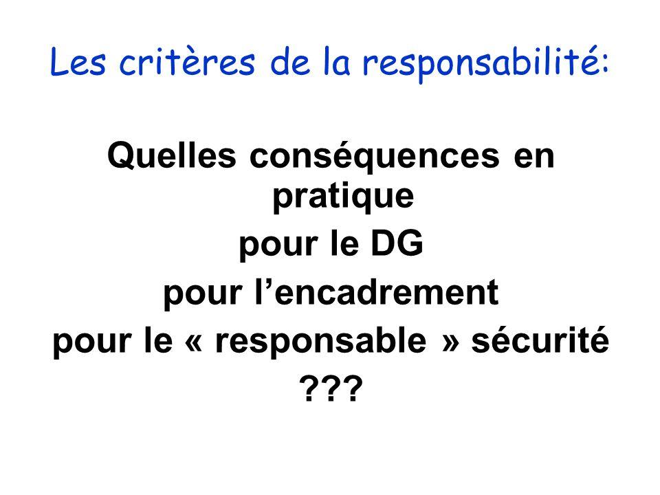 Les critères de la responsabilité: Quelles conséquences en pratique pour le DG pour lencadrement pour le « responsable » sécurité ???