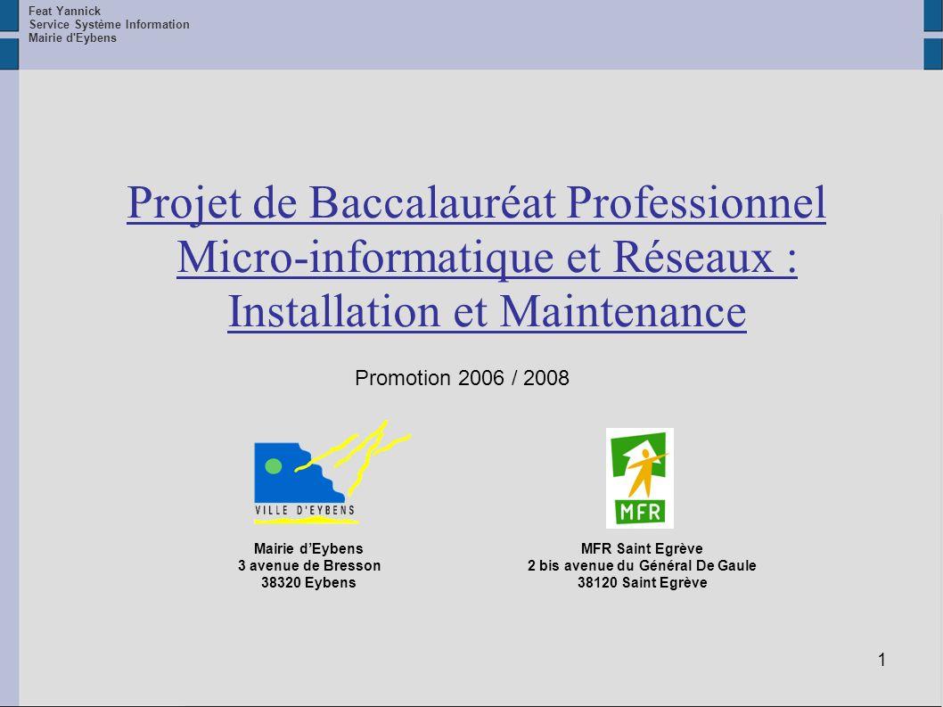 1 Projet de Baccalauréat Professionnel Micro-informatique et Réseaux : Installation et Maintenance Feat Yannick Service Système Information Mairie d'E