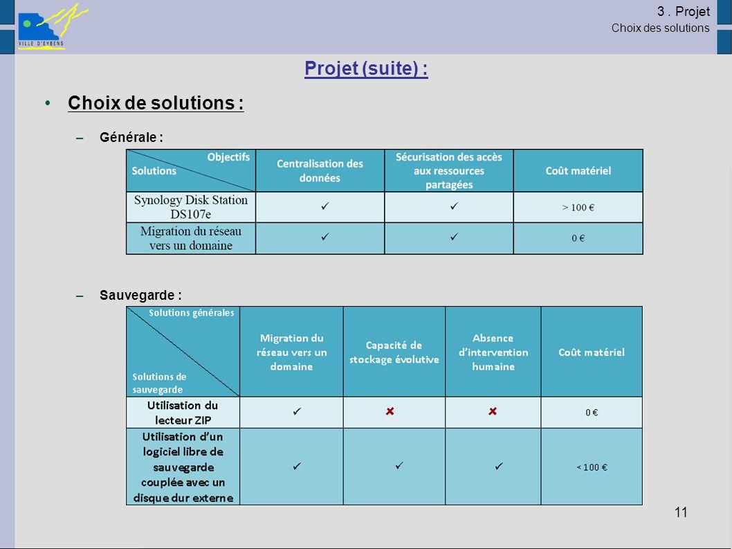 11 Projet (suite) : Choix de solutions : –Générale : –Sauvegarde : 3. Projet Choix des solutions