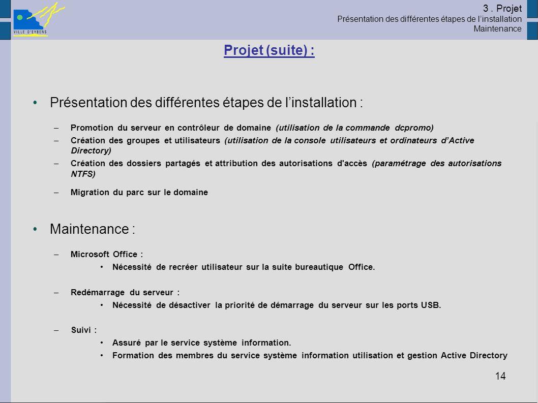 14 Projet (suite) : Présentation des différentes étapes de linstallation : –Promotion du serveur en contrôleur de domaine (utilisation de la commande