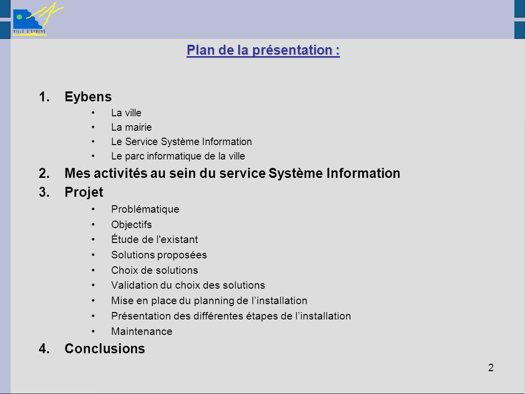 2 Plan de la présentation : 1.Eybens La ville La mairie Le Service Système Information Le parc informatique de la ville 2.Mes activités au sein du ser
