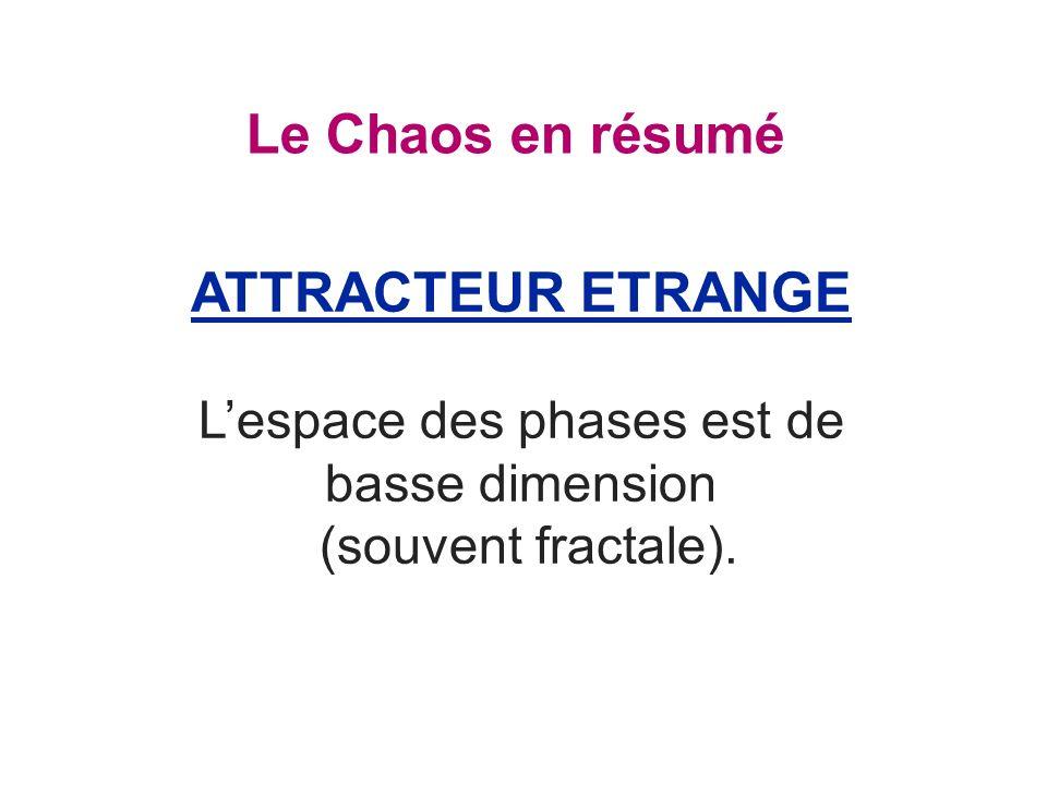 Le Chaos en résumé ATTRACTEUR ETRANGE Lespace des phases est de basse dimension (souvent fractale).