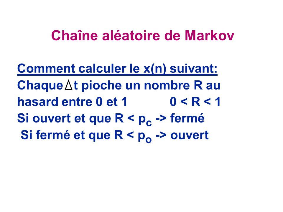 Chaîne aléatoire de Markov Comment calculer le x(n) suivant: Chaque t pioche un nombre R au hasard entre 0 et 1 0 < R < 1 Si ouvert et que R fermé Si fermé et que R ouvert