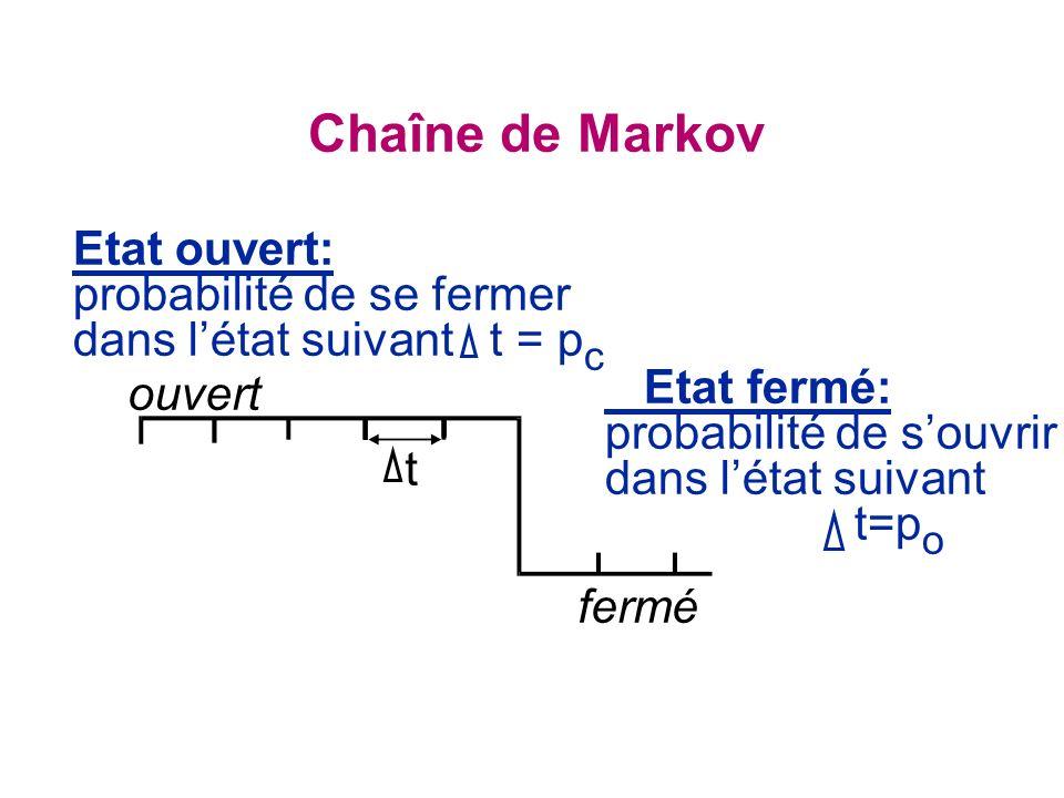 Chaîne de Markov t fermé Etat fermé: probabilité de souvrir dans létat suivant t=p o Etat ouvert: probabilité de se fermer dans létat suivant t = p c ouvert