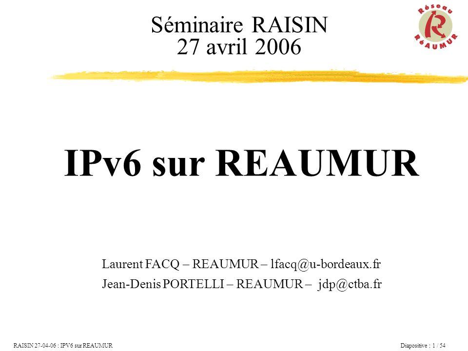 RAISIN 27-04-06 : IPV6 sur REAUMUR Diapositive : 2 / 54 IPv6 : Introduction et Historique Les adresses Le protocole Le service expérimental REAUMUR Utiliser IPv6...