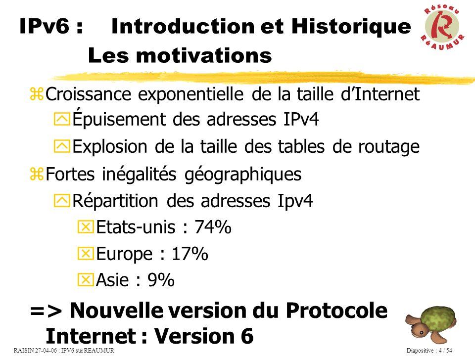 RAISIN 27-04-06 : IPV6 sur REAUMUR Diapositive : 15 / 54 Site Local (plus utilisé) Le préfixe est de la forme : FEC0::/48 SLA Site Level Aggrégation sur 16 bits 1 1 1 1 1 1 1 0 1 1 0 10 bits64 bits 38 bits Interface ID.