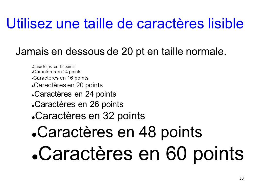 10 Utilisez une taille de caractères lisible Jamais en dessous de 20 pt en taille normale. Caractères en 12 points Caractères en 14 points Caractères
