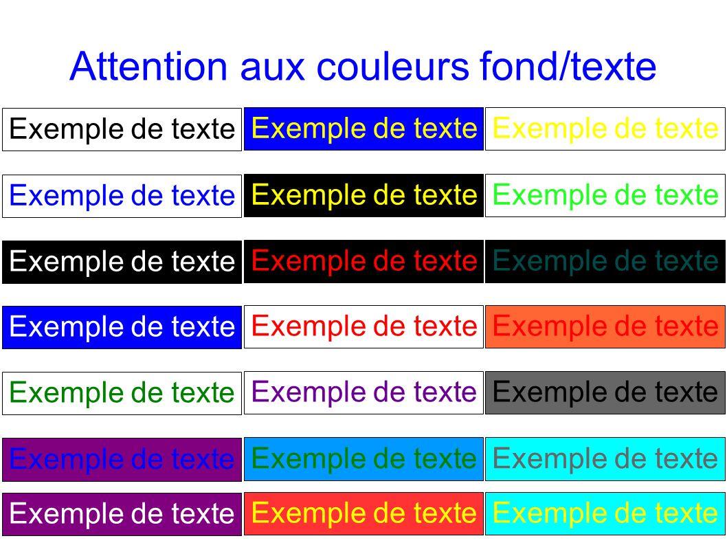 13 Attention aux couleurs fond/texte Exemple de texte