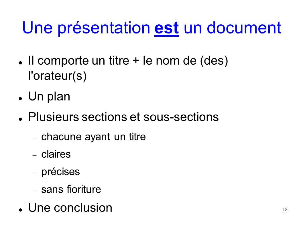 18 Une présentation est un document Il comporte un titre + le nom de (des) l'orateur(s) Un plan Plusieurs sections et sous-sections chacune ayant un t