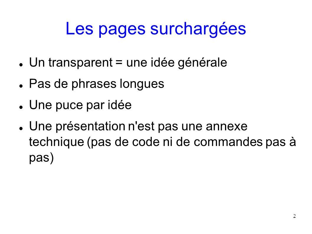 2 Les pages surchargées Un transparent = une idée générale Pas de phrases longues Une puce par idée Une présentation n'est pas une annexe technique (p