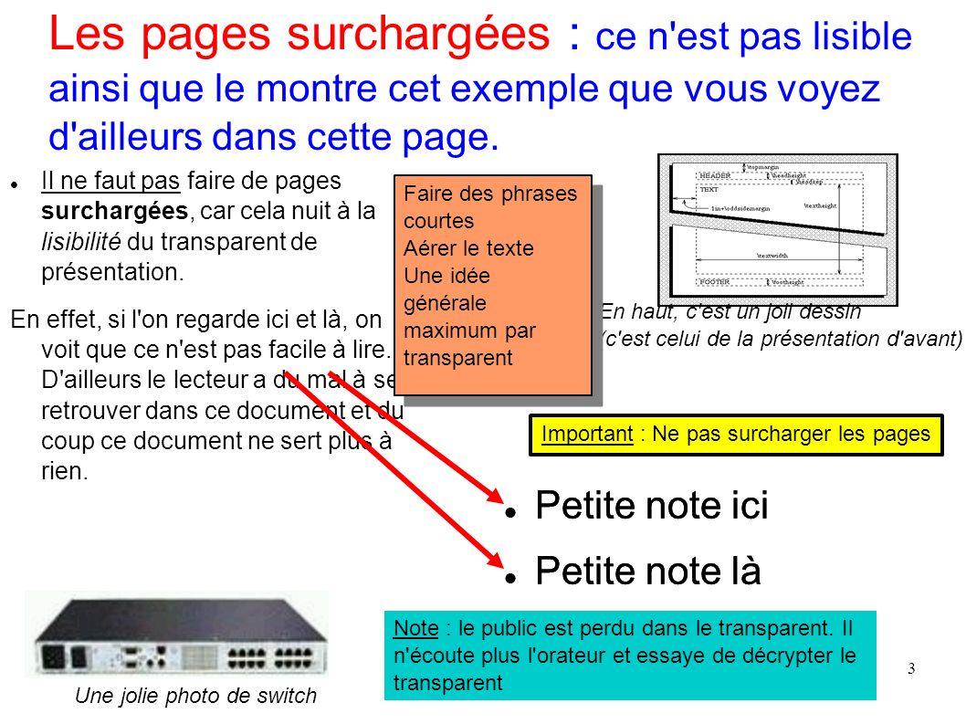 3 Les pages surchargées : ce n'est pas lisible ainsi que le montre cet exemple que vous voyez d'ailleurs dans cette page. Il ne faut pas faire de page
